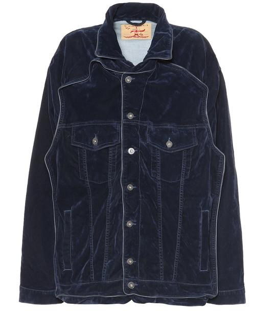 Y/PROJECT Oversized velvet jacket in blue