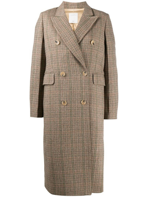 Sandro Paris checked double-breasted coat in brown