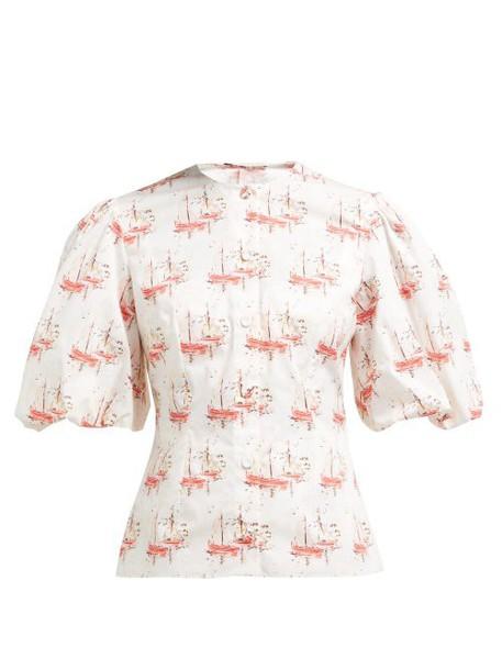 Emilia Wickstead - Selena Sailboat Print Cotton Blouse - Womens - Pink Print