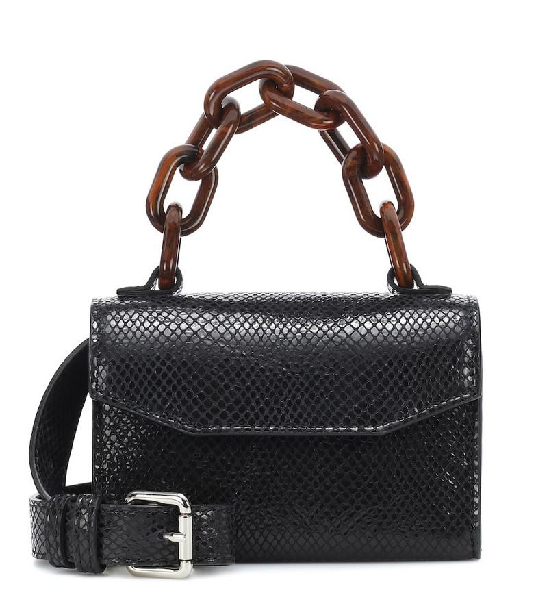Ganni Snake-effect leather belt bag in black
