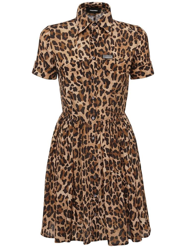 DSQUARED2 Leopard Print Crepe De Chine Dress