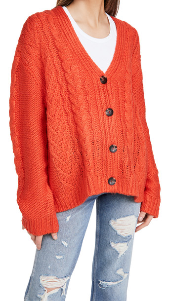 525 Mixed Cable Cardigan in red