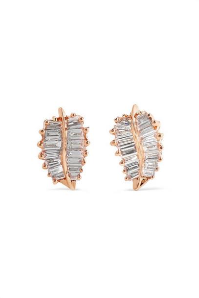Anita Ko - Palm Leaf 18-karat Rose Gold Diamond Earrings