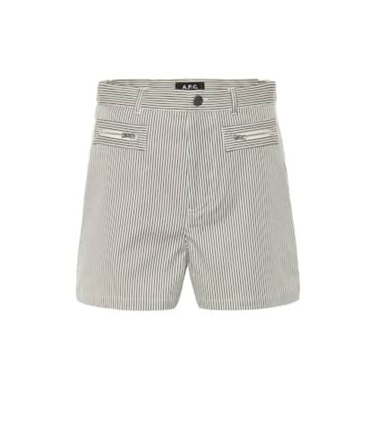 A.P.C. Angie striped stretch cotton shorts in grey