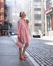 bag,chanel bag,pink dress,ballet flats,long sleeve dress