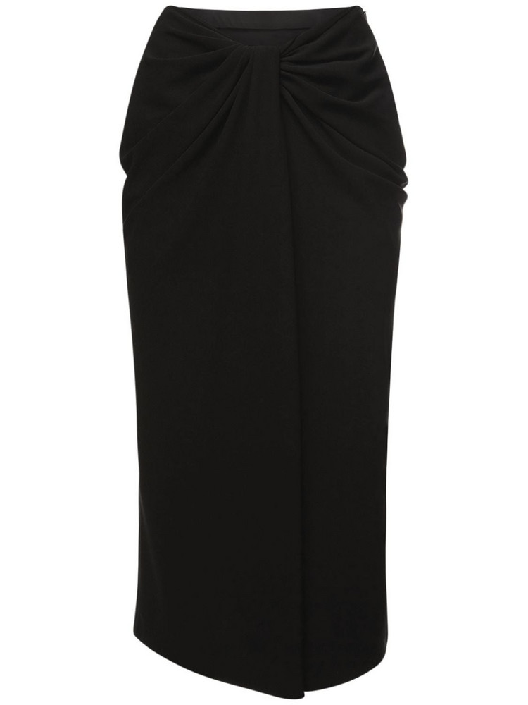 VALENTINO Knot Draping Stretch Silk Cady Skirt in black