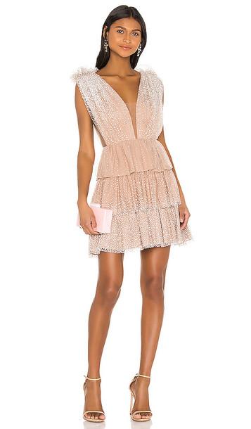 SAU LEE Beth Dress in Tan