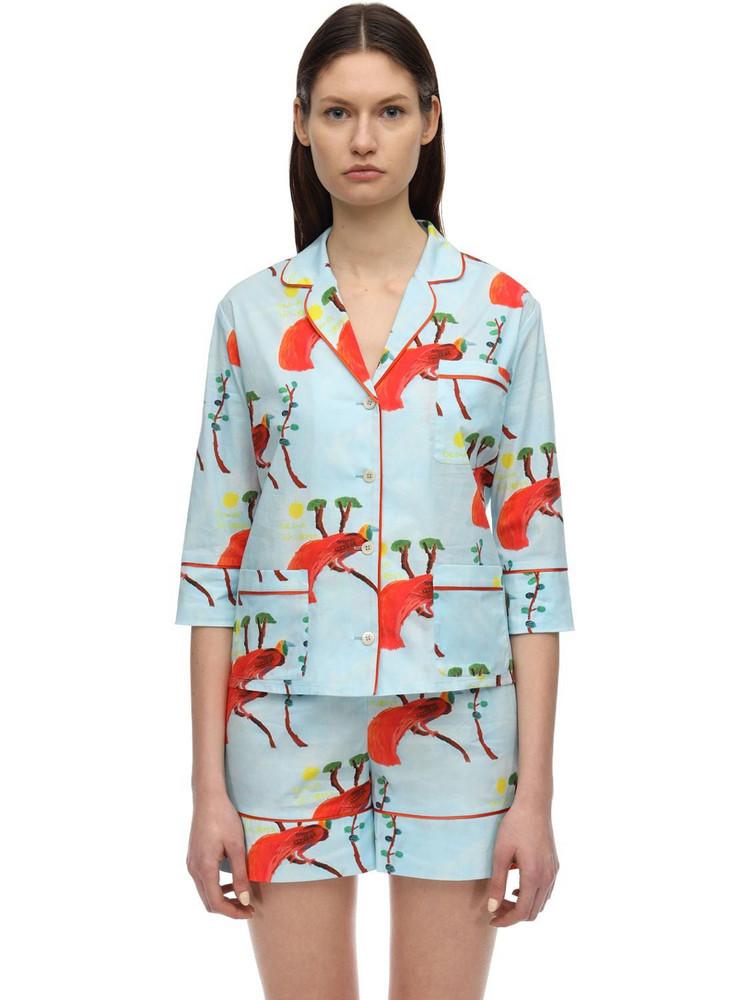 LAURA URBINATI Printed Stretch Poplin Pajama Shirt in orange