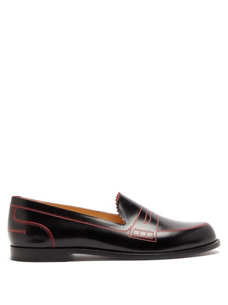 Christian Louboutin - Mocalaureat Trompe-l'oeil Leather Penny Loafers - Womens - Black Red