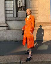 coat,trench coat,leather,orange coat,mules,white shirt,black bag