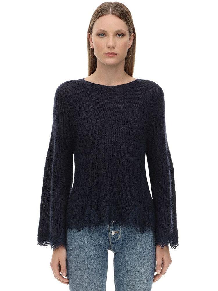 PINK MEMORIES Mohair Blend Lace Knit Sweater in navy