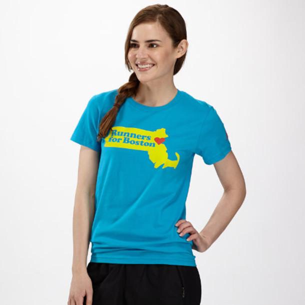 New Balance 4114 Women's One Fund Boston Tee 2014 - Turquoise, Yellow, Red (WPT4114TQ)