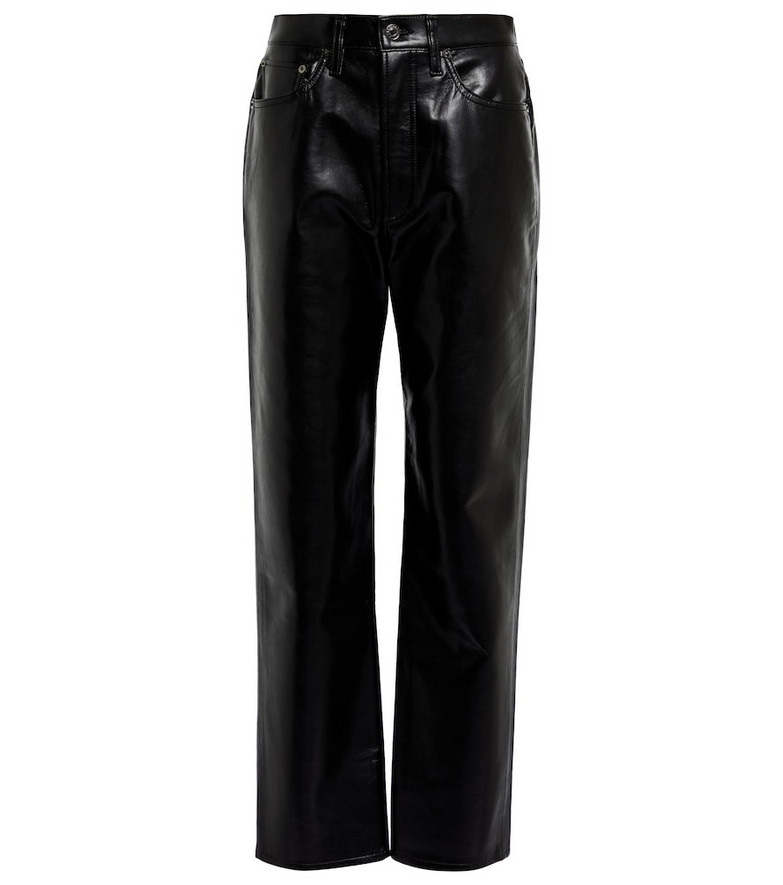AGOLDE 90s Pinch Waist leather-blend pants in black
