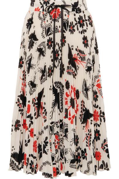 REDValentino - Pleated Printed Crepe Midi Skirt - White