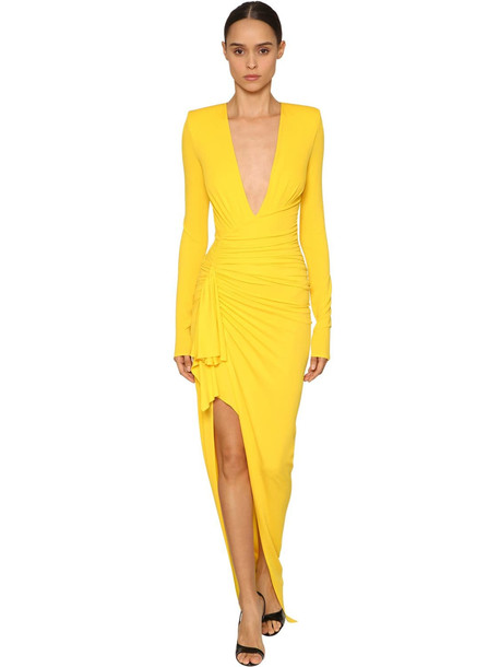 ALEXANDRE VAUTHIER V Neck Stretch Jersey Long Dress in yellow