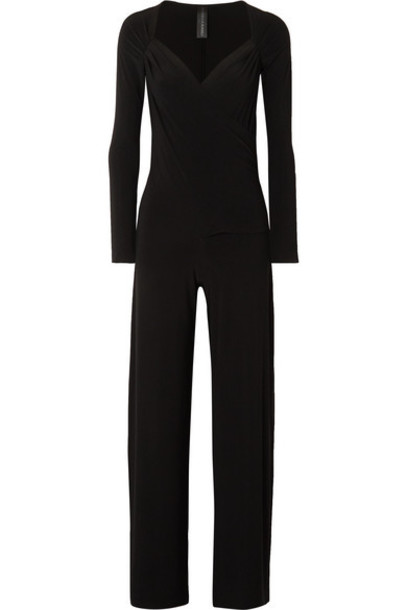 Norma Kamali - Wrap-effect Stretch-jersey Jumpsuit - Black
