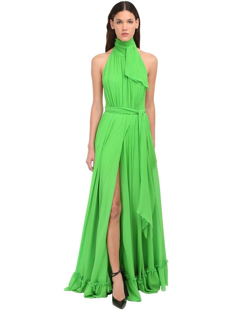 DUNDAS Halter Neck Silk Satin Long Dress in green