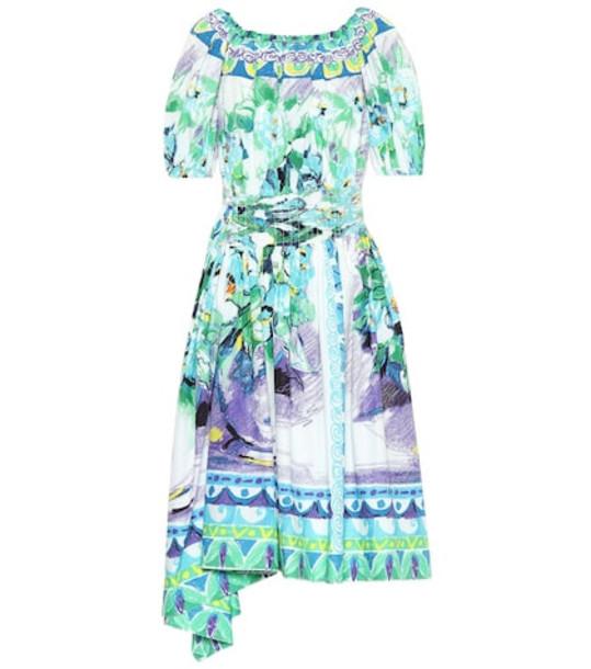 Prada Printed cotton poplin dress in blue