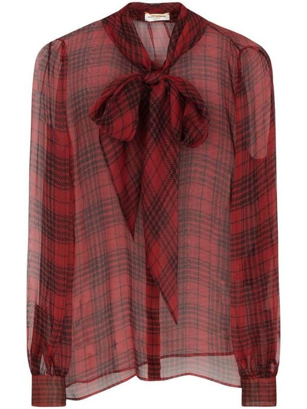 Saint Laurent semi-sheer bow-detail silk blouse in red