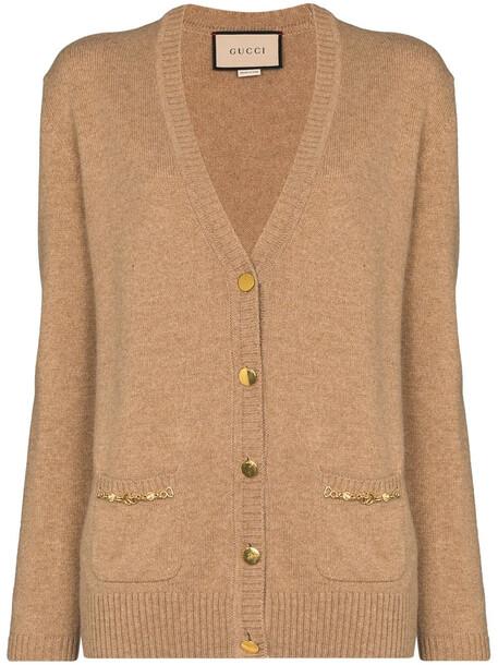 Gucci Horsebit-detail cashmere cardigan - Neutrals