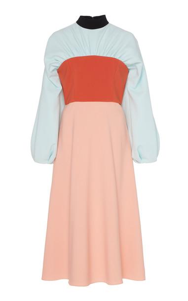Christian Siriano Tri-Colored Long Sleeve Dress in multi