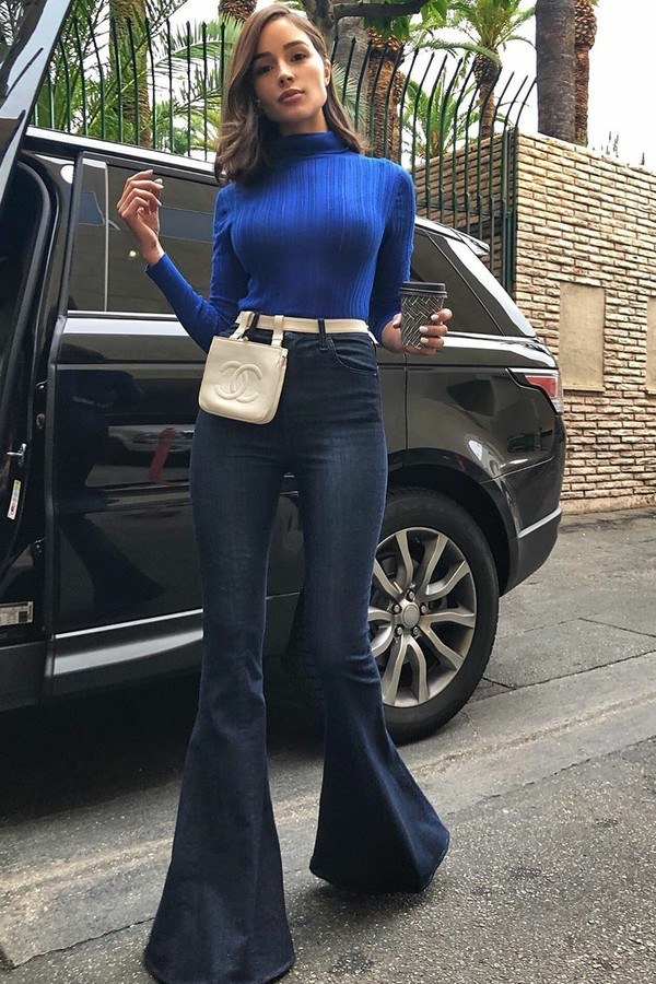 jeans denim flare jeans olivia culpo celebrity blogger blogger style fall outfits turtleneck