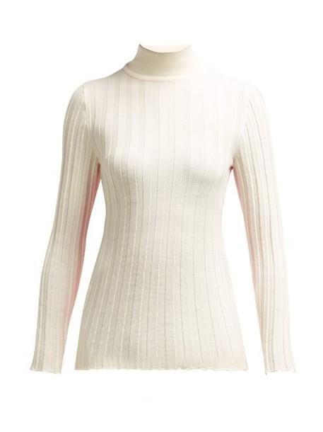 Marni - Contrast Panel Wool Sweater - Womens - Ivory Multi