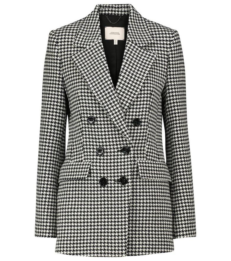 Dorothee Schumacher Graphic Softness houndstooth wool-blend blazer in black