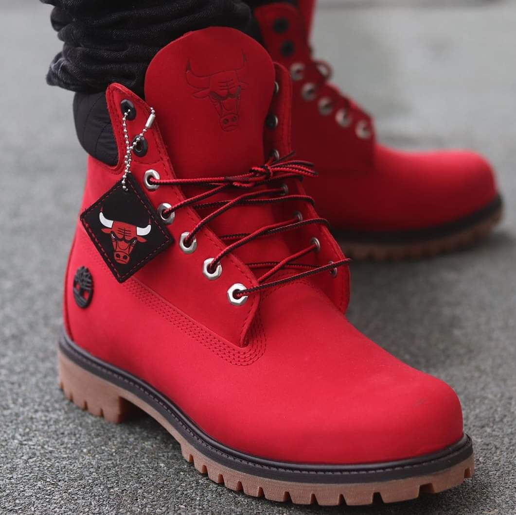shoes, red, timberlands, boots, chicago