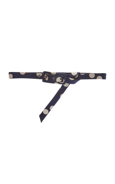 Carolina Herrera Floating Dot Print Thin Buckle Belt Size: S in navy