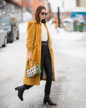 bag,shoulder bag,plaid,mulberry,black boots,black pants,high waisted pants,white sweater,long coat,yellow coat,puffed sleeves
