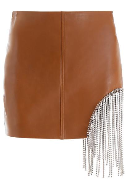 AREA Crystal Fringe Mini Skirt in brown