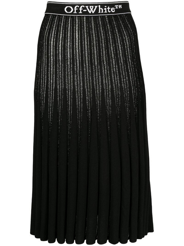 Off-White metallic knitted pleated skirt in black