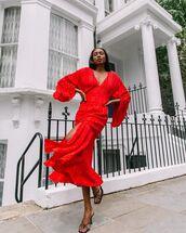 dress,red dress,midi dress,long sleeve dress,puffed sleeves,black sandals