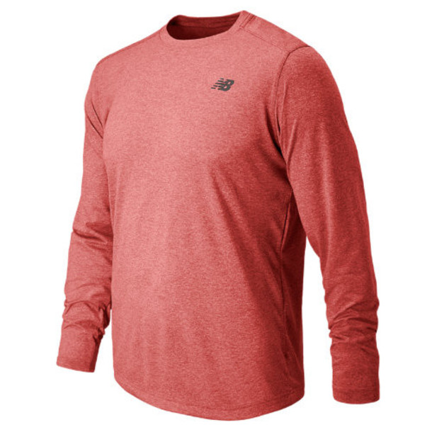 New Balance 53080 Men's Long Sleeve Heather Tech Tee - Chrome Red Heather (MT53080CHH)
