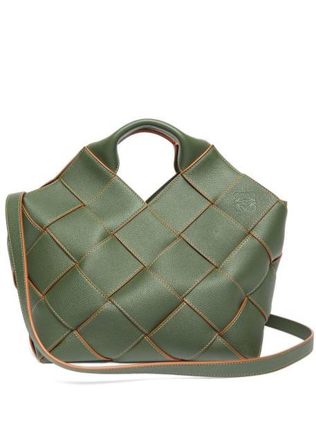 Loewe - Anagram Woven-leather Tote Bag - Womens - Khaki