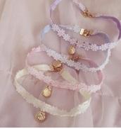 jewels,choker necklace,lace choker,pastel lace choker,kawaii necklace,kawaii choker,mermaid,hime,lace choker necklace,pastel,pastel choker,kawaii,kawaii accessory,himekaji,hime gyaru