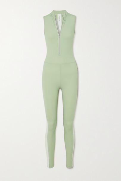 Vaara - Dean Thermal Striped Stretch Bodysuit - Light green