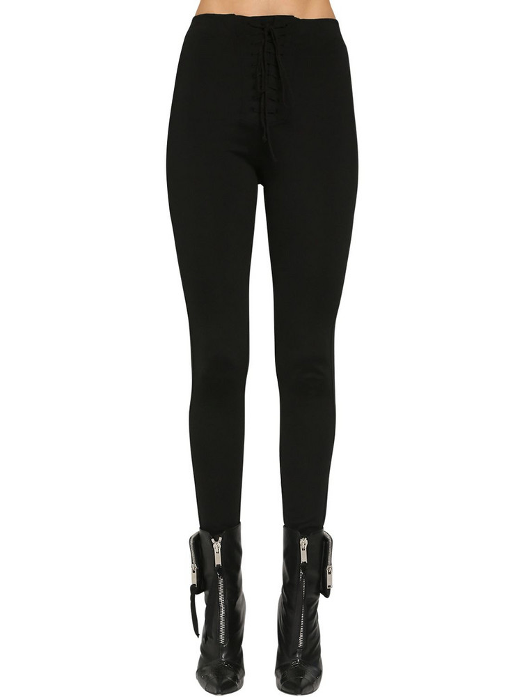 UNRAVEL Jersey Lace-up Leggings in black