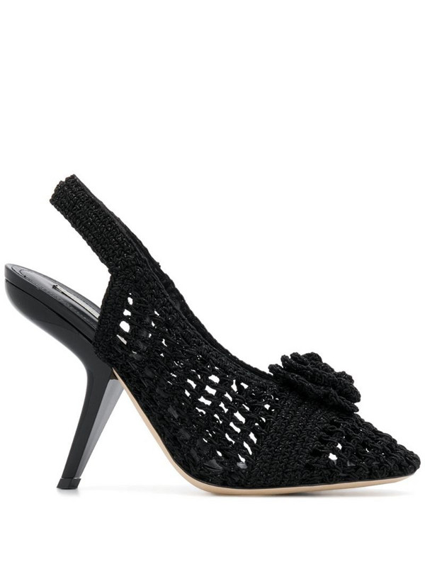 Marco De Vincenzo crochetted flower sandals in black