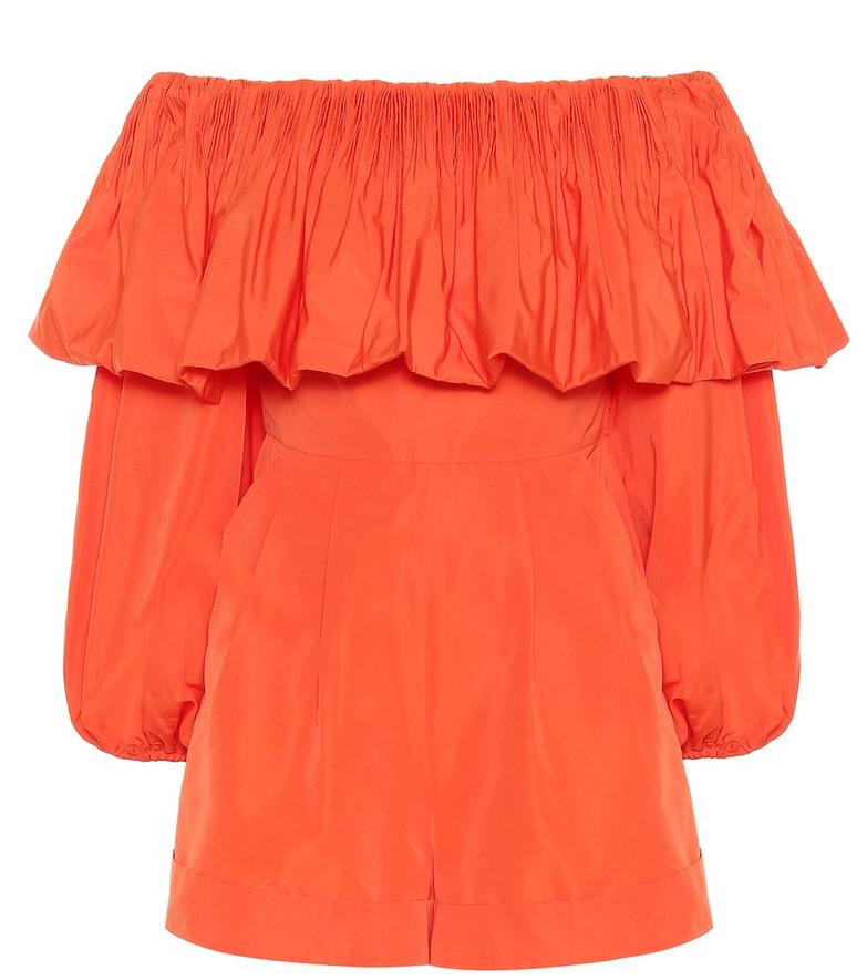 Valentino Cotton-blend playsuit in orange