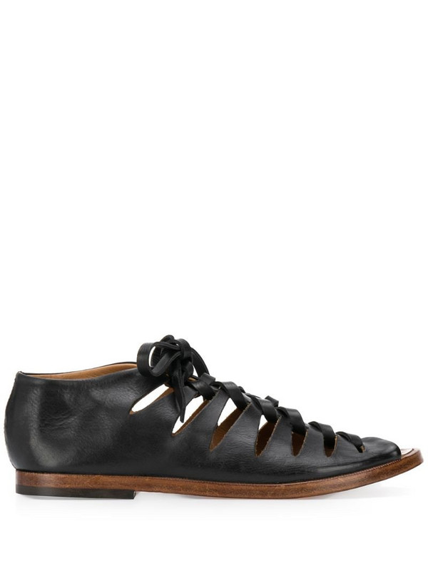 Alberto Fasciani lace-up leather gladiator sandals in black