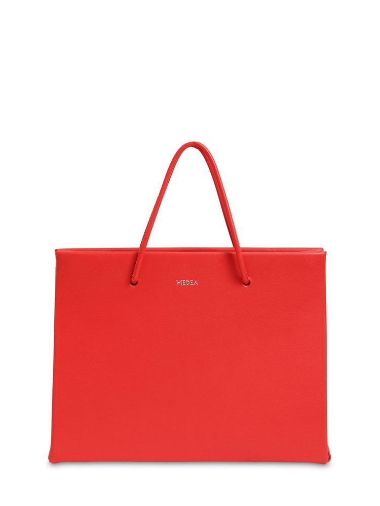 MEDEA Hanna Leather Top Handle Bag in red