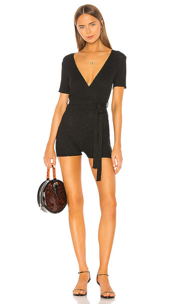 superdown Amelia Tie Front Romper in Black