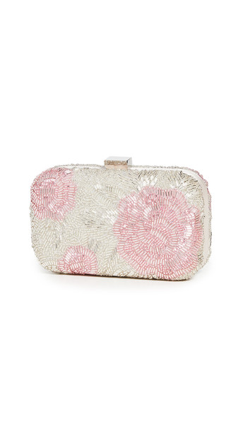 Santi Floral Beaded Clutch in pink