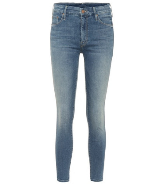 Mother Looker high-rise skinny jeans in blue
