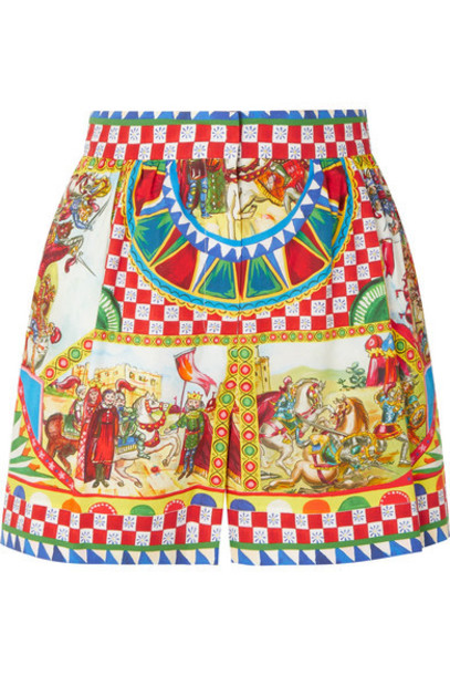 Dolce & Gabbana - Printed Cotton-poplin Shorts - Yellow
