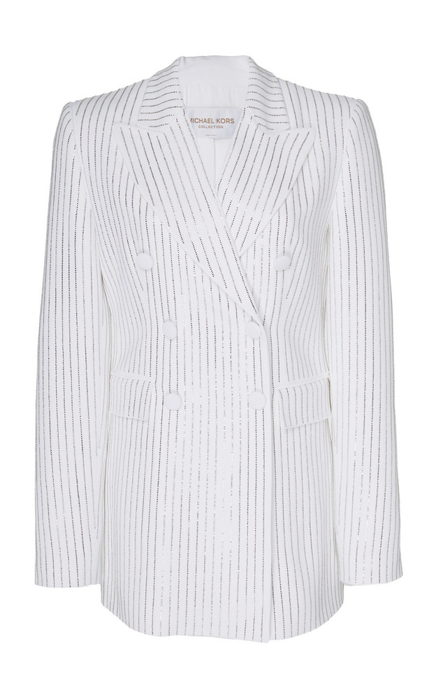 Michael Kors Collection Pinstriped Double-Breasted Crepe Jacket Size: in white
