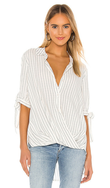 BCBGeneration Stripe Blouse in White