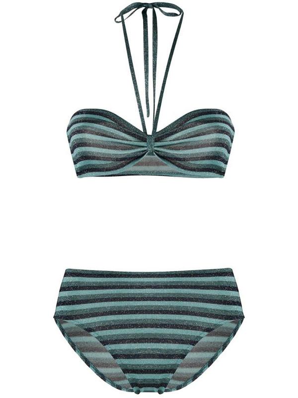 Roberto Collina striped print bikini set in blue